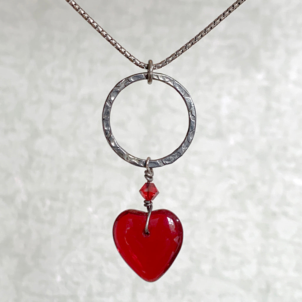 Oxidised Medium Hoop with Deep Red Glass Heart Necklace