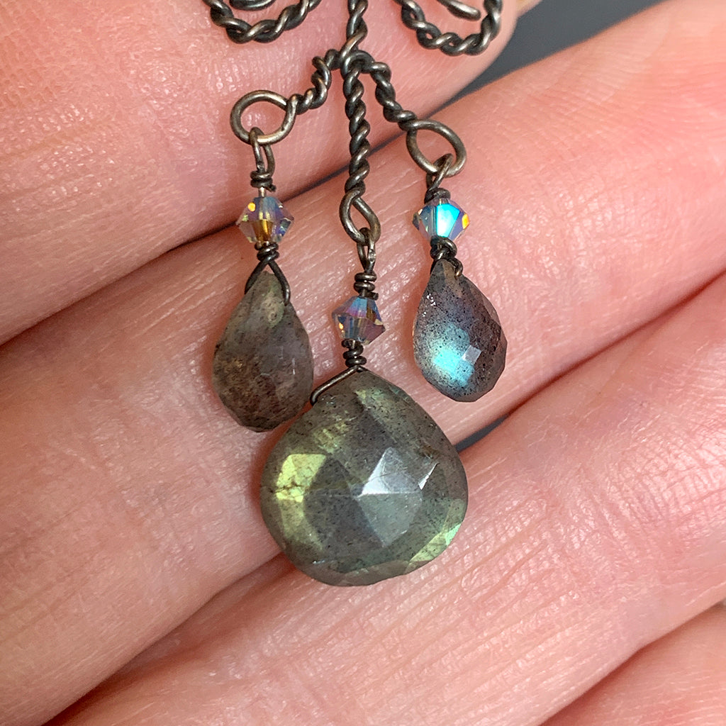 Oxidised Filigree Scroll Wire Pendant with Faceted Labradorite Teardrops on Oxidised Silver Chain Necklace