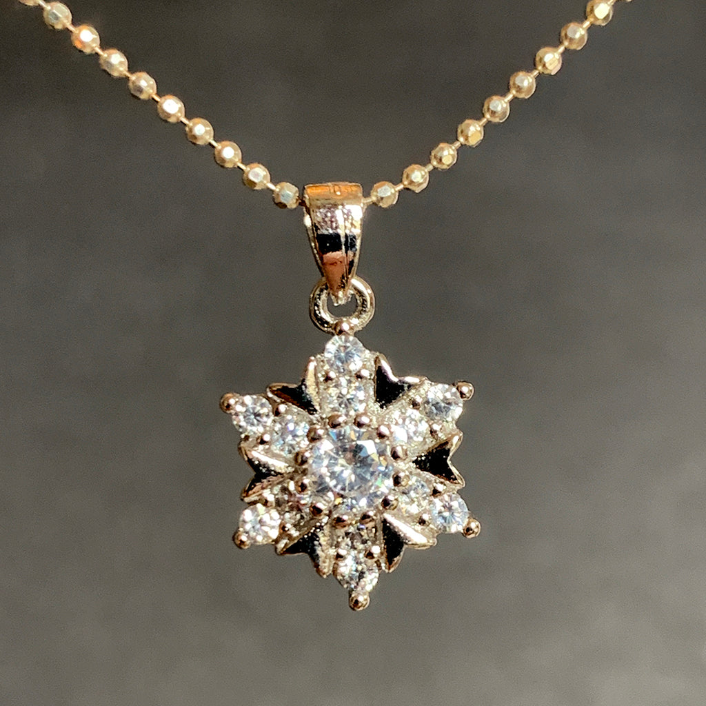 Cubic Zirconia and Silver Pendant Necklace