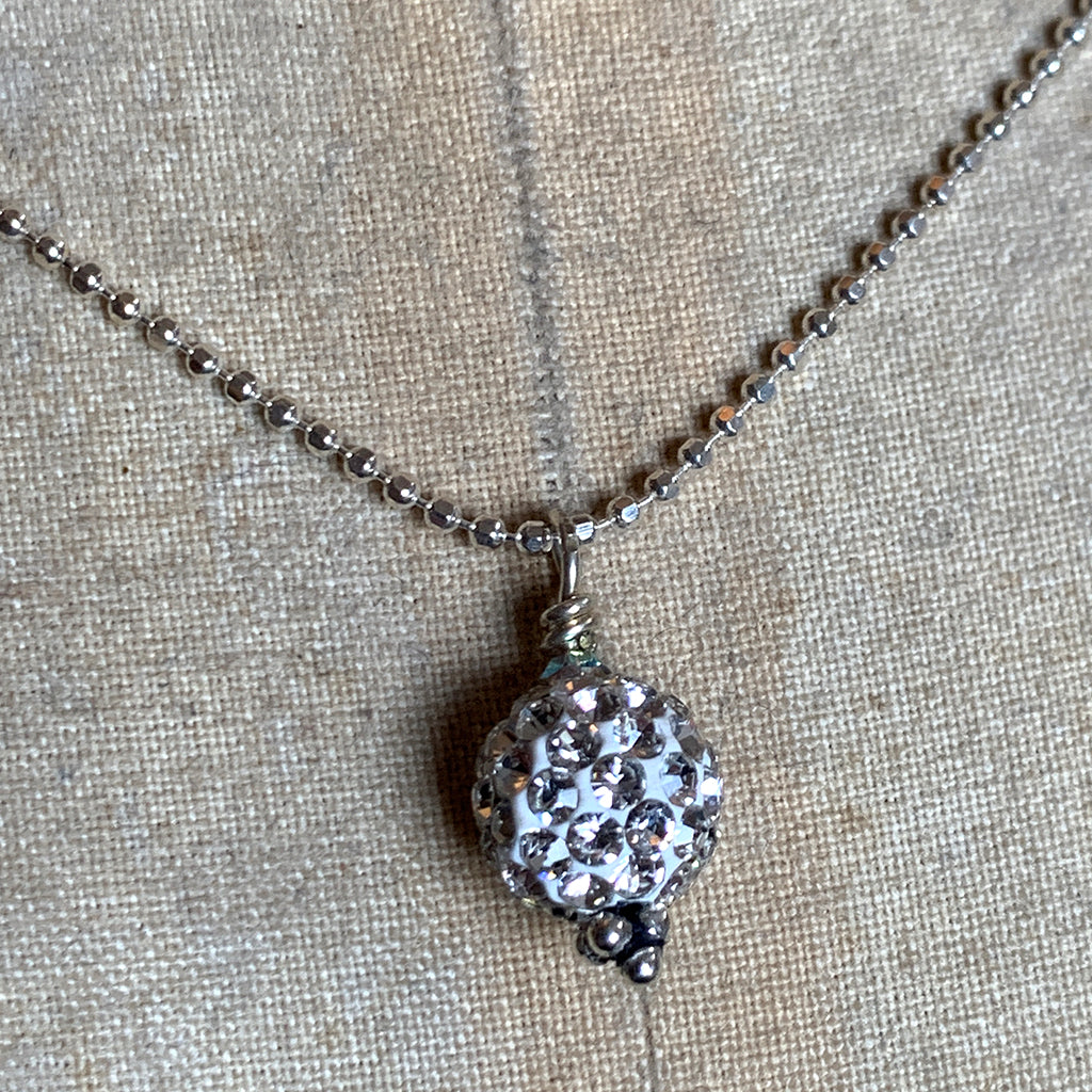 Shamballa Bead Pendant on Silver Chain Necklace