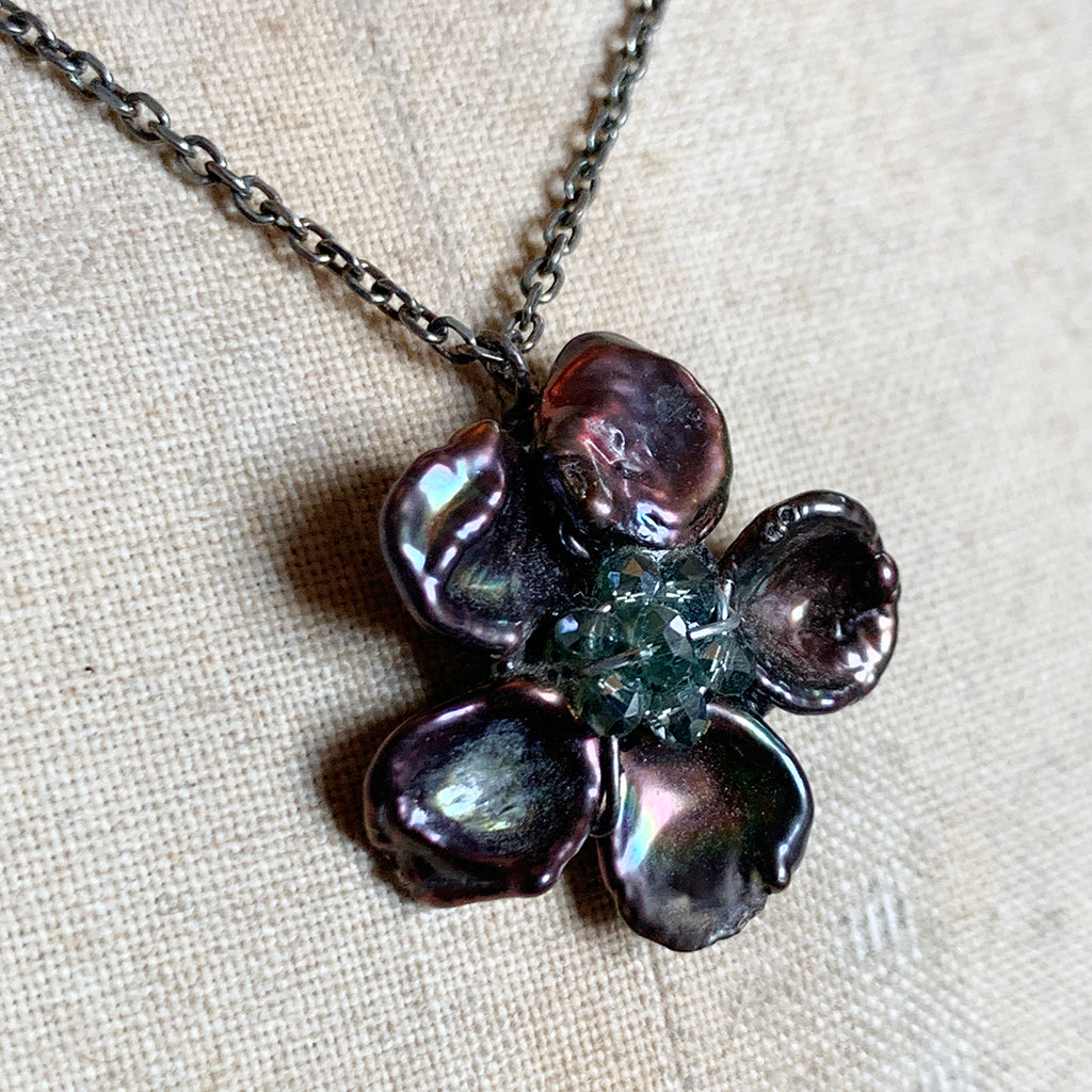 Flower made of Keshi Pearls with a Crystal Centre on Oxidised Silver Chain Necklace