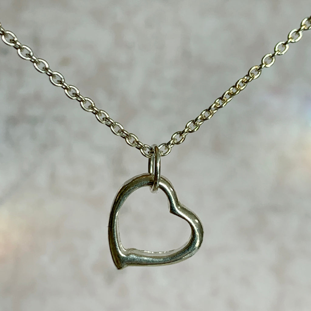 Open Heart on Silver Chain Necklace