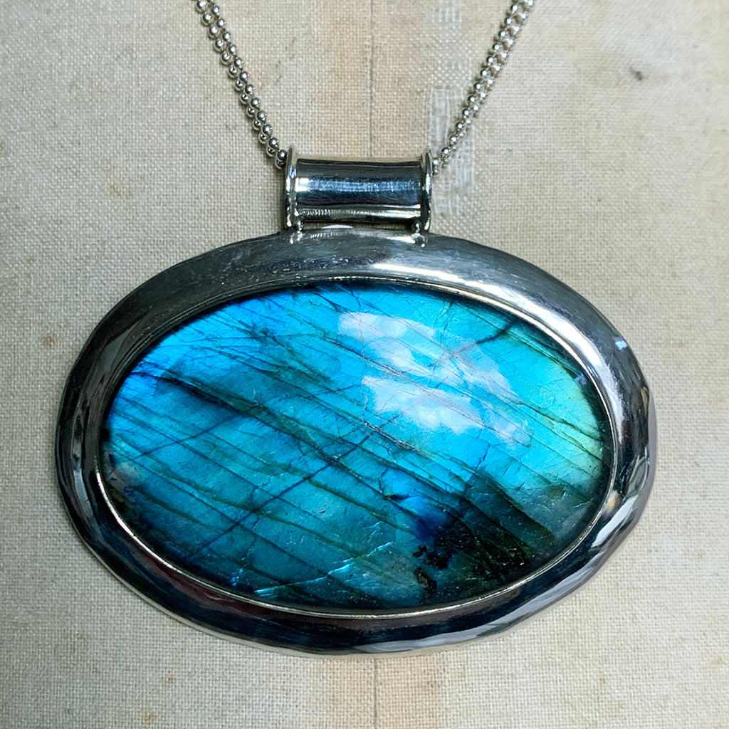 XX Large Oval Labradorite of Extraordinary Quality Set on Double Silver Beaded Necklace
