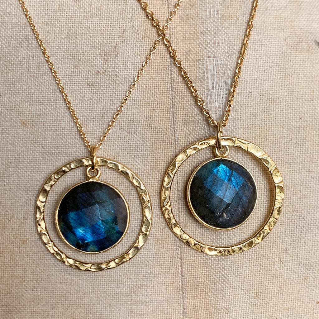 Gold Halo & Labradorite Necklace
