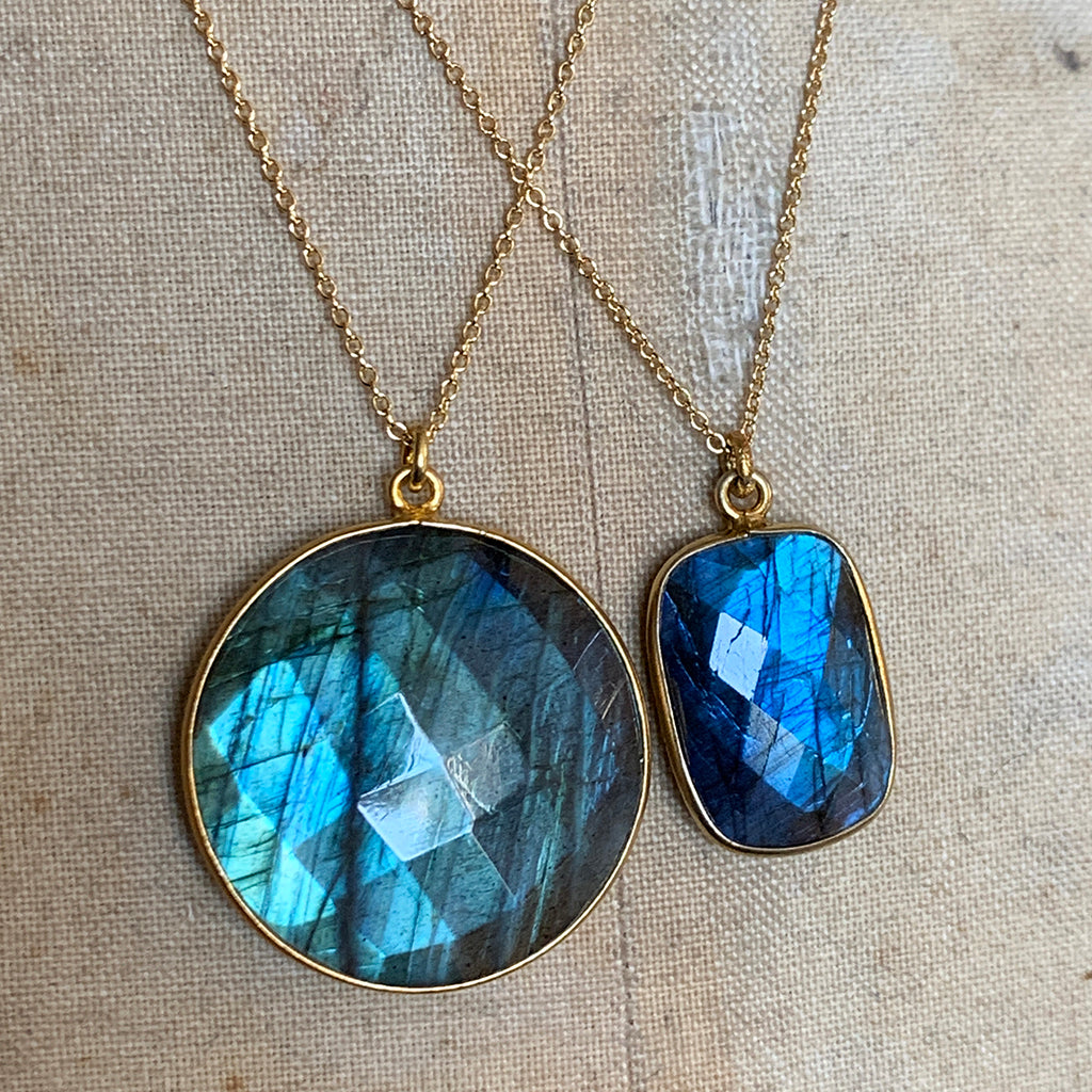 Rectangular Labradorite Necklace on Gold Chain