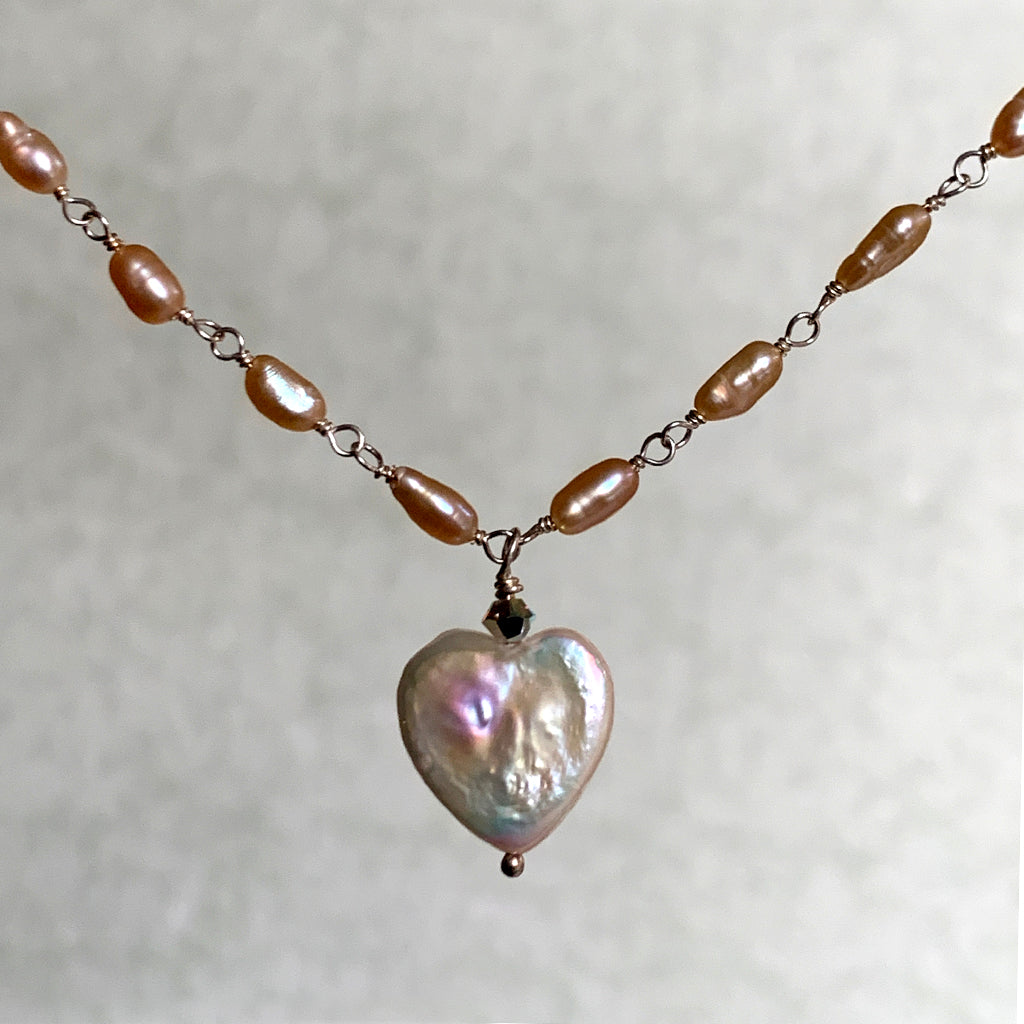Pearl Heart on Rice Pearl Chain Necklace