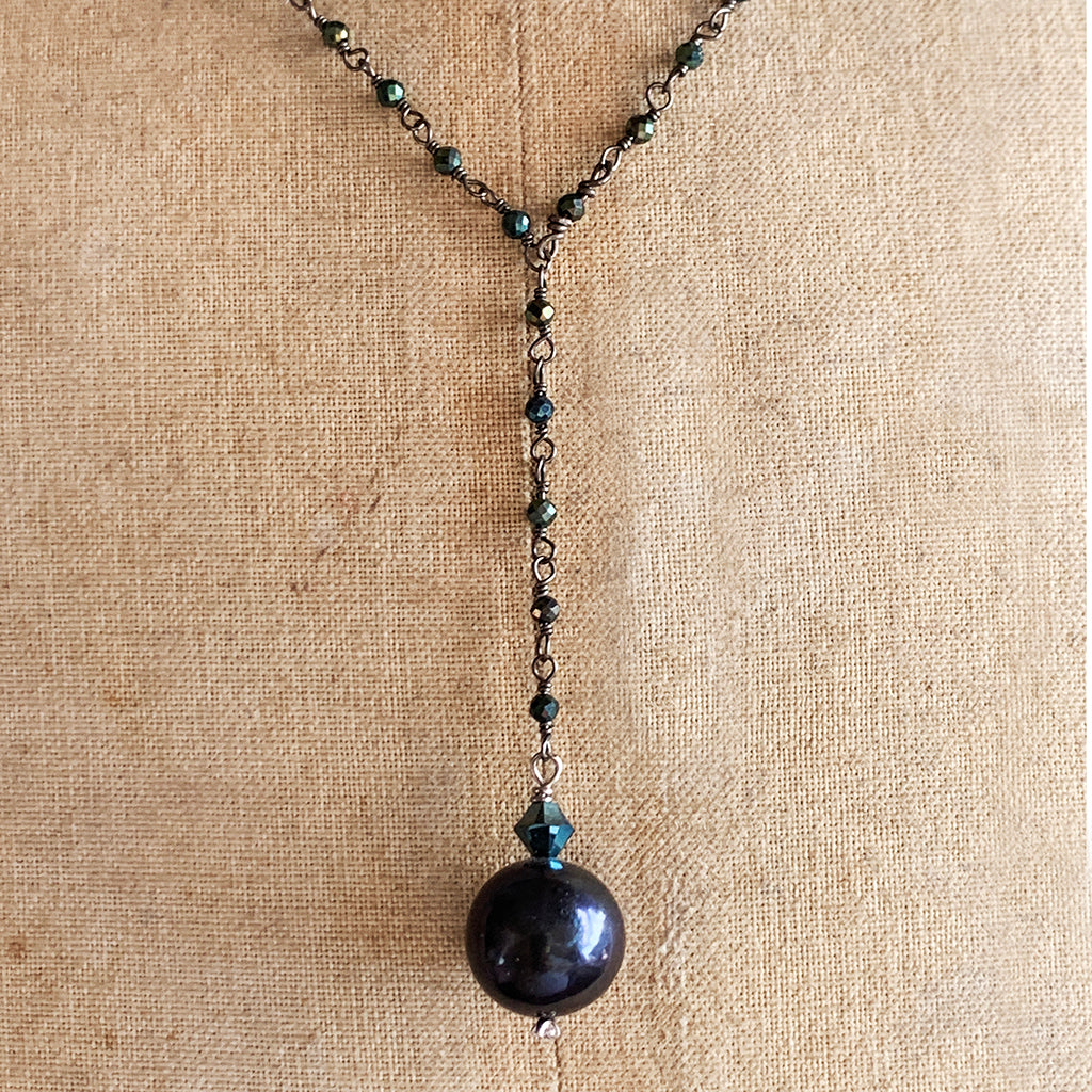 Darkest Navy/Black Single Pearl on a Dark Crystal Beaded Chain Necklace