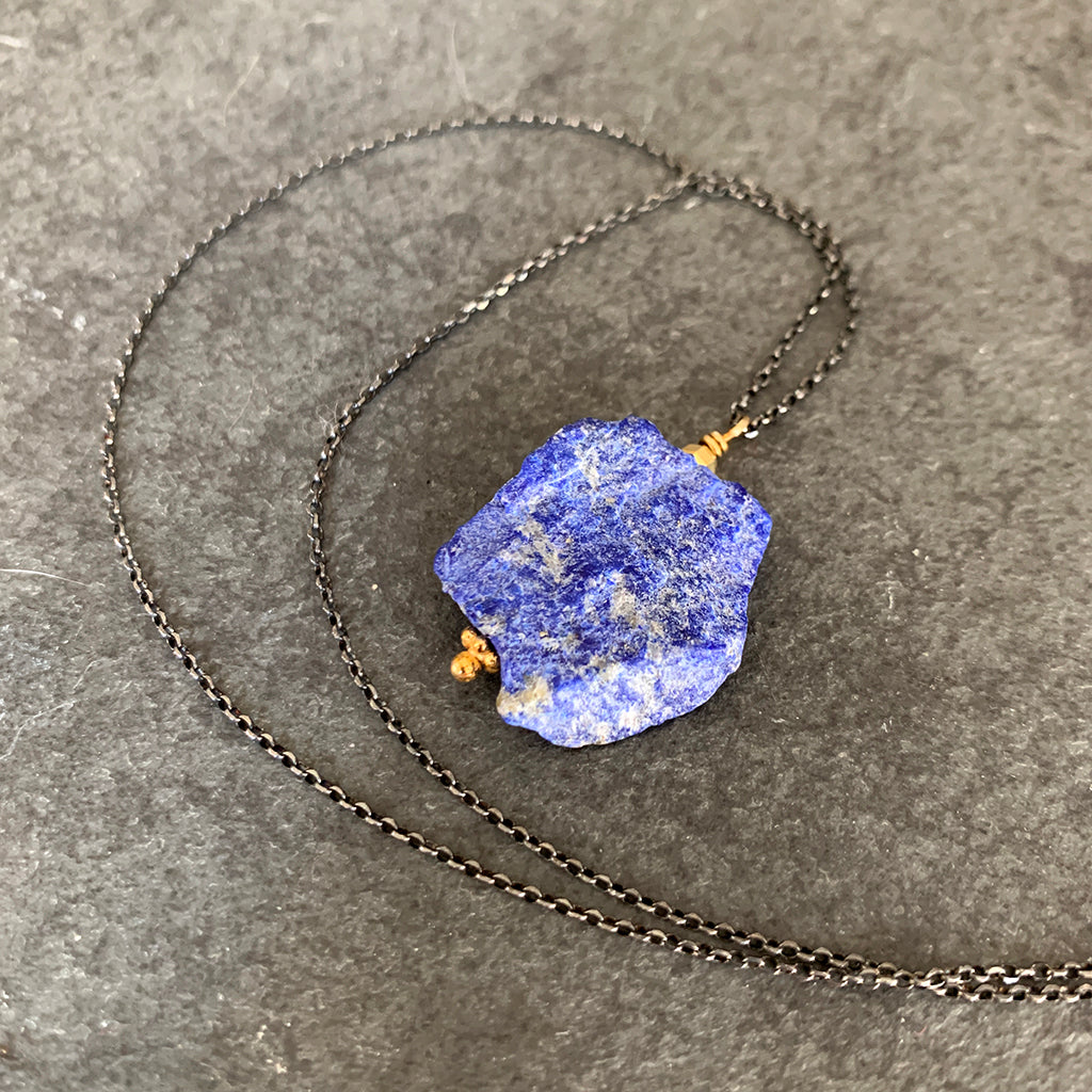 Rough Chunk of Lapis Lazuli suspended on Oxidised Silver Chain Necklace