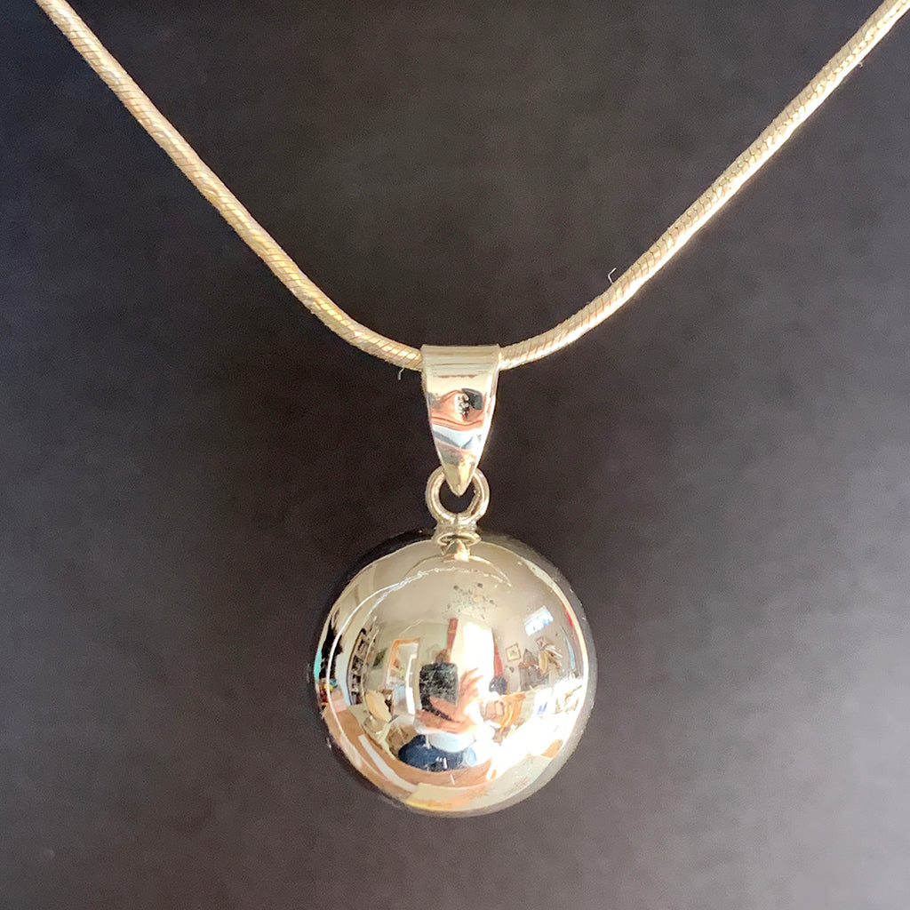 Sterling Silver Harmony Ball (Ringing Bell) on Silver Chain Necklace