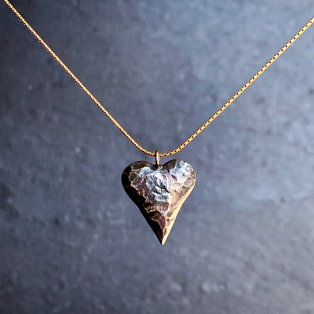 Oxidised Beaten Pewter Heart on Silver Chain Necklace