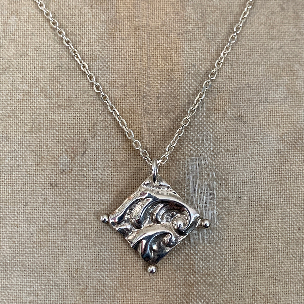 Bright Silver Embossed Silver Square Necklace