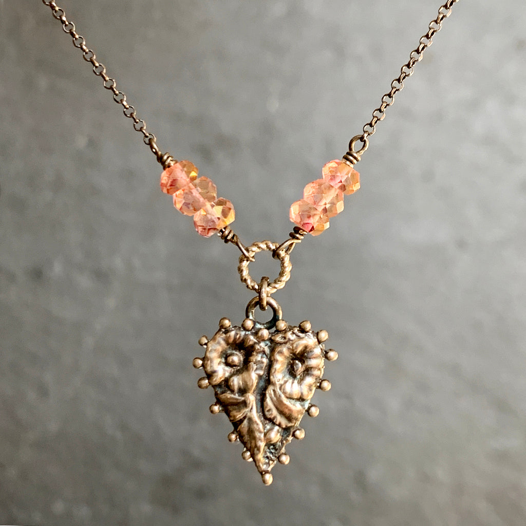 Tiny Beaded Edge Cast Heart with Pink Topaz Beads on Oxidised Silver Chain Necklace