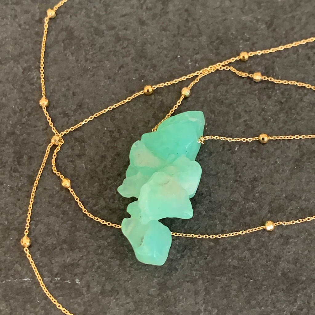 Irregular Chunk of Chrysoprase set on Fine Gold Vermeil Chain Necklace