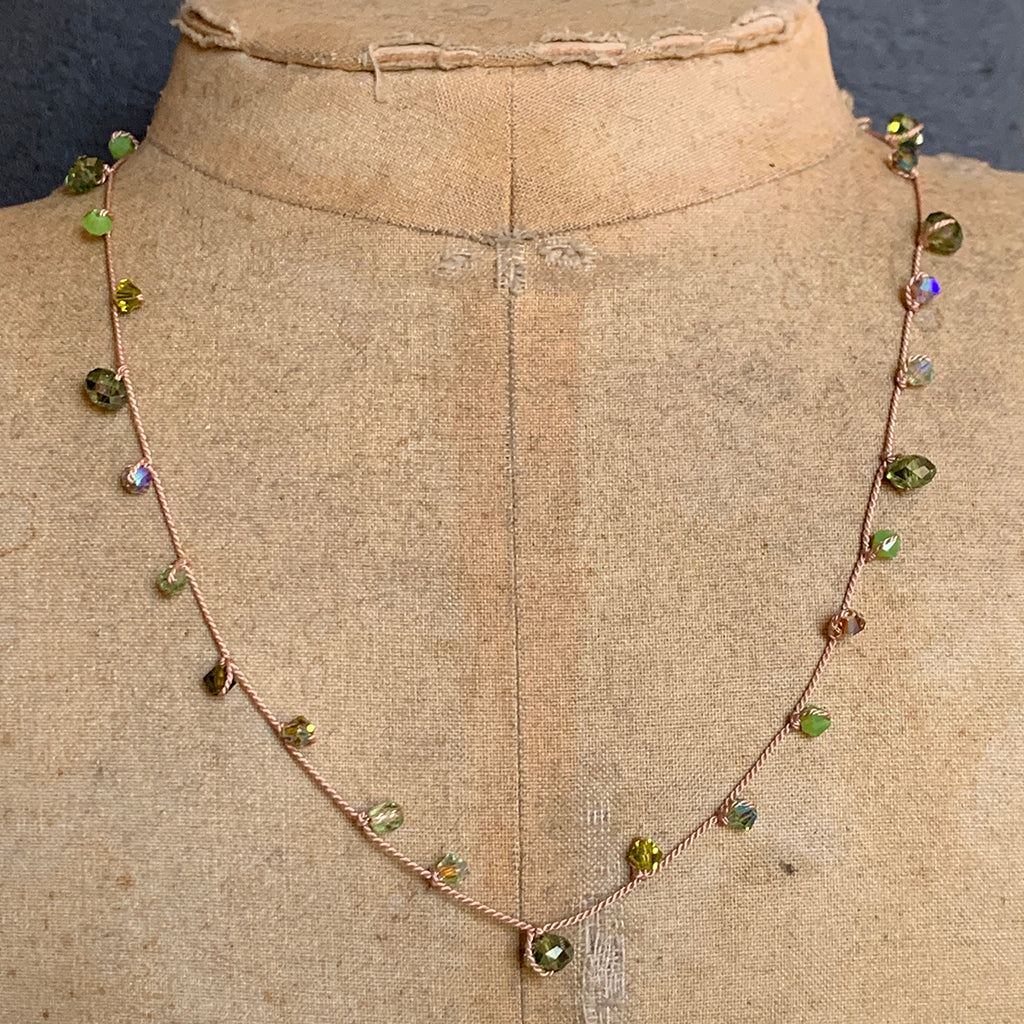 Green Crystal Dotted on Silk Necklace