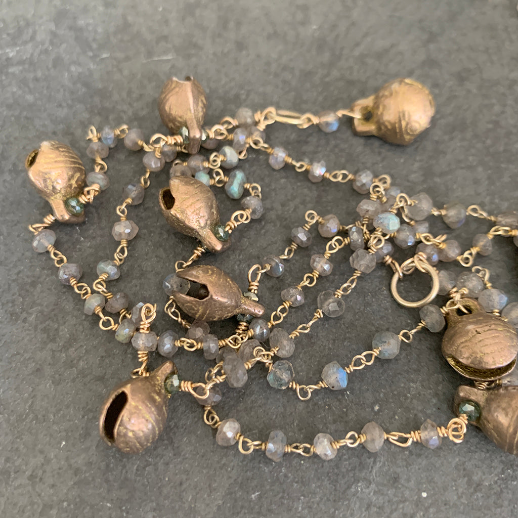 Labradorite Chain Necklace with Tibetan Brass Bell Necklace