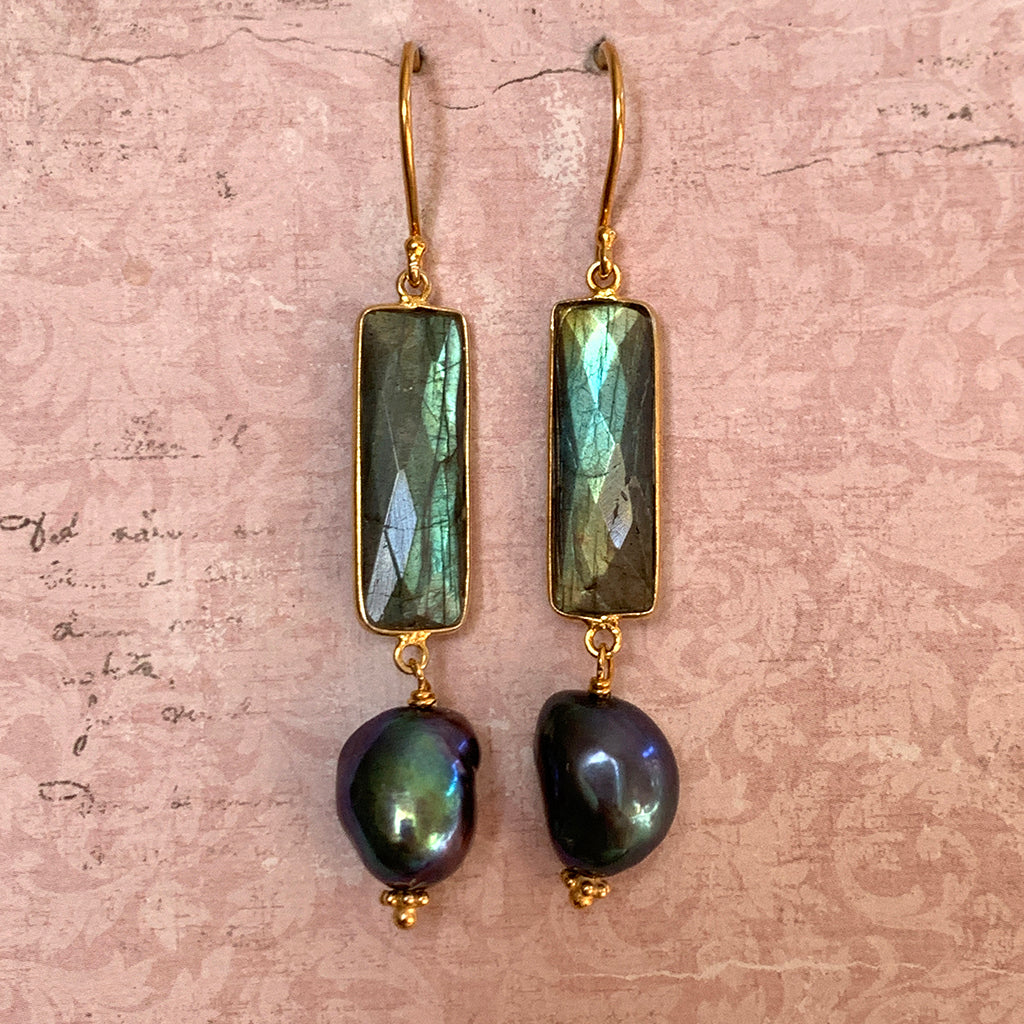 Rectangular Green/Blue Labradorite & Irregular Baroque Pearl Earrings