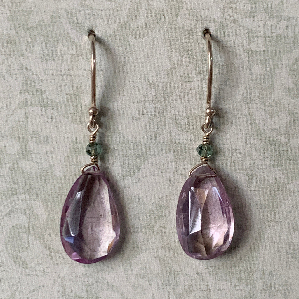 Pink Amethyst Faceted Drop Earrings