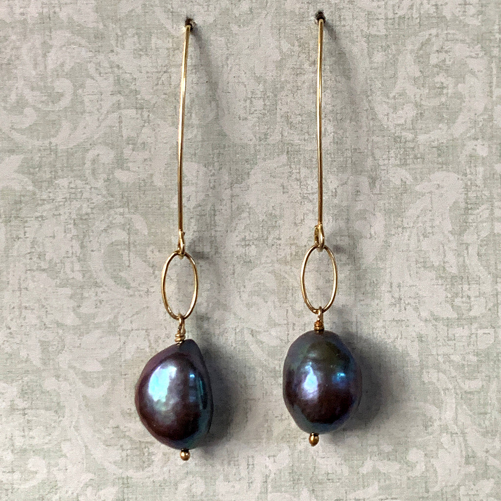 Baroque Dark Pearl on Silver Loose Link & Arc Earrings