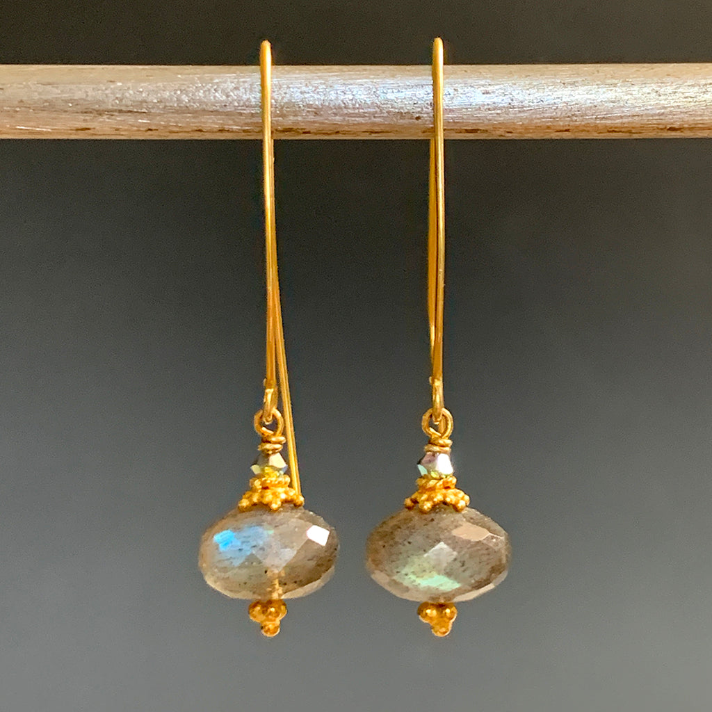 Faceted Rondel Labradorite Collared Arc Earring