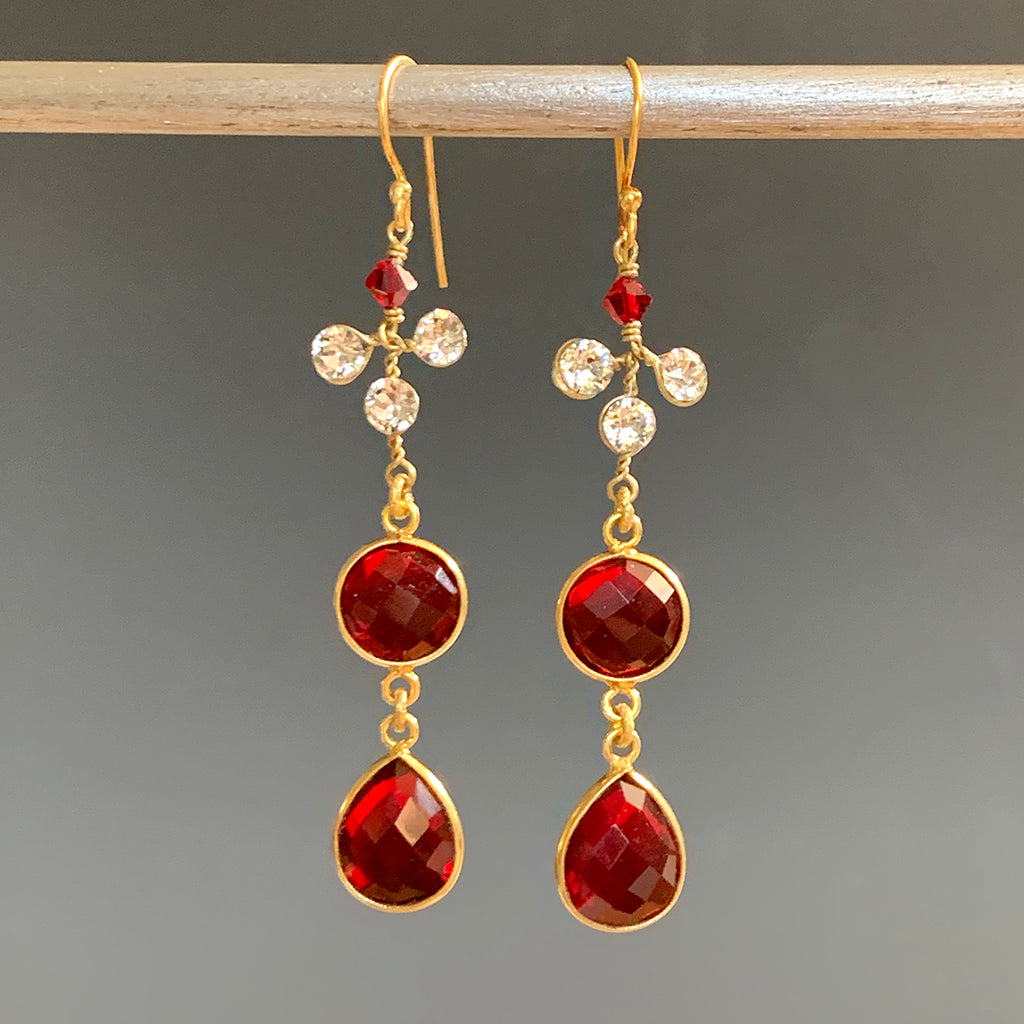 Double Red Crystal & Diamante Set Earrings