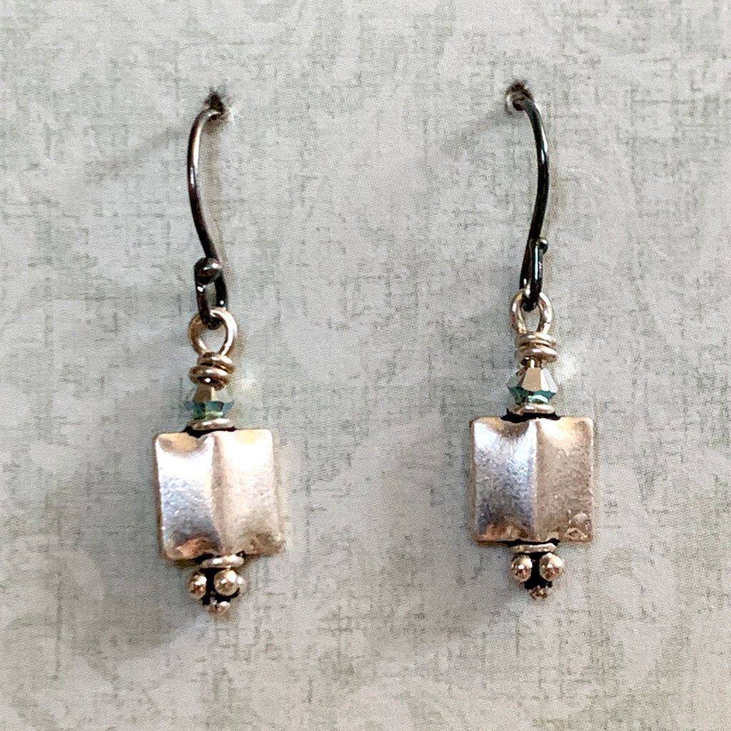 Square Silver Cushion Earrings
