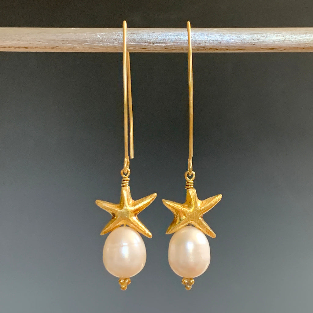 Gold Starfish & Pearl Arc Earrings