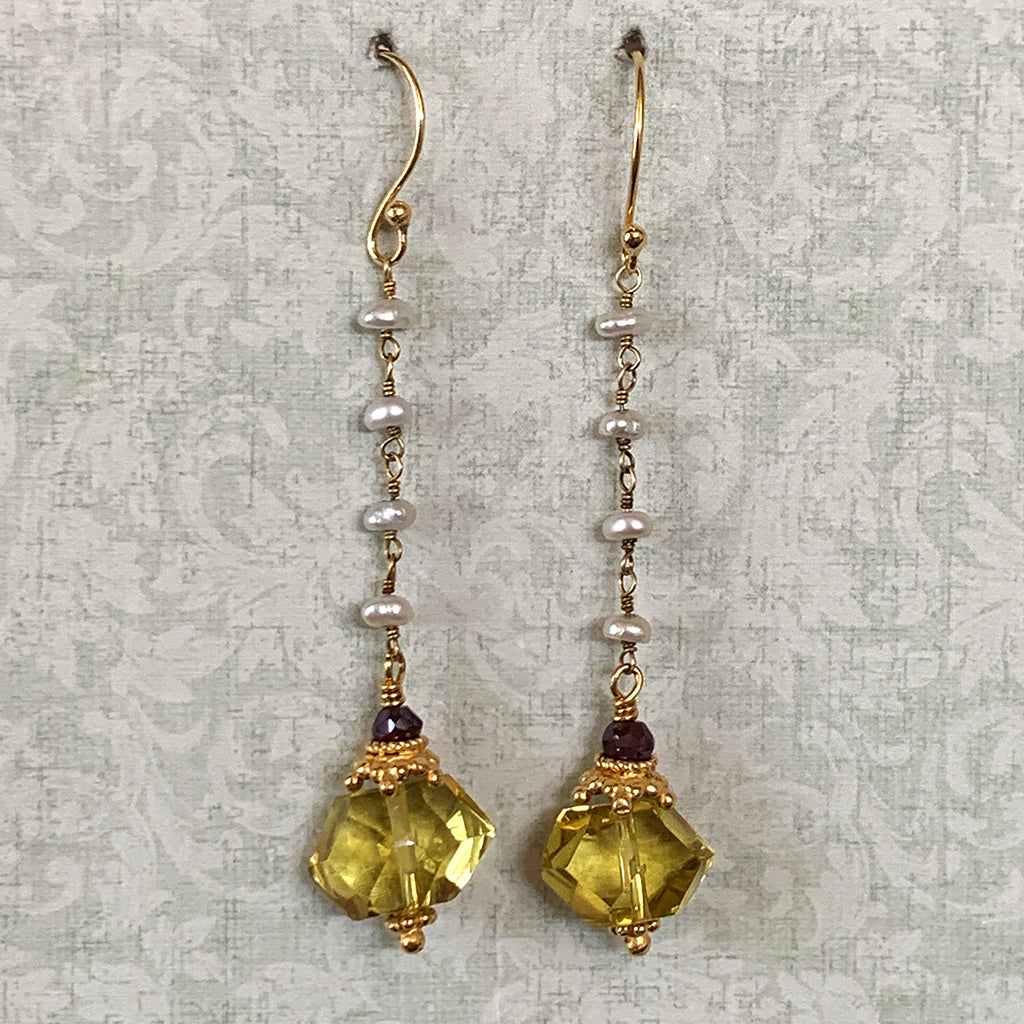Lemon Quartz Faceted Nuggets on Gold Pearl Chain Earrings