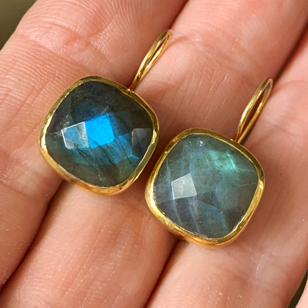 Large Faceted Cushion Cut Labradorite Earrings