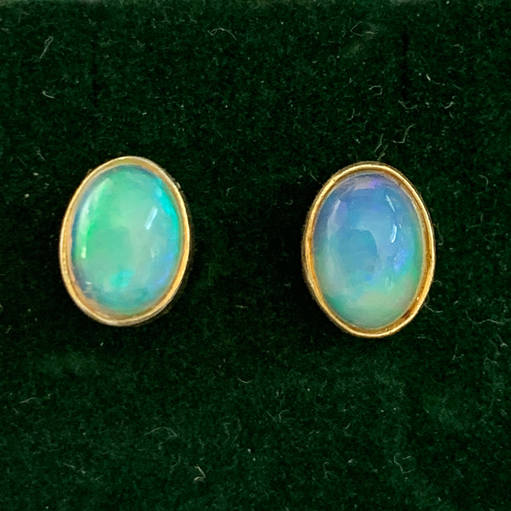 Ethiopian Opal and Gold Stud Earrings
