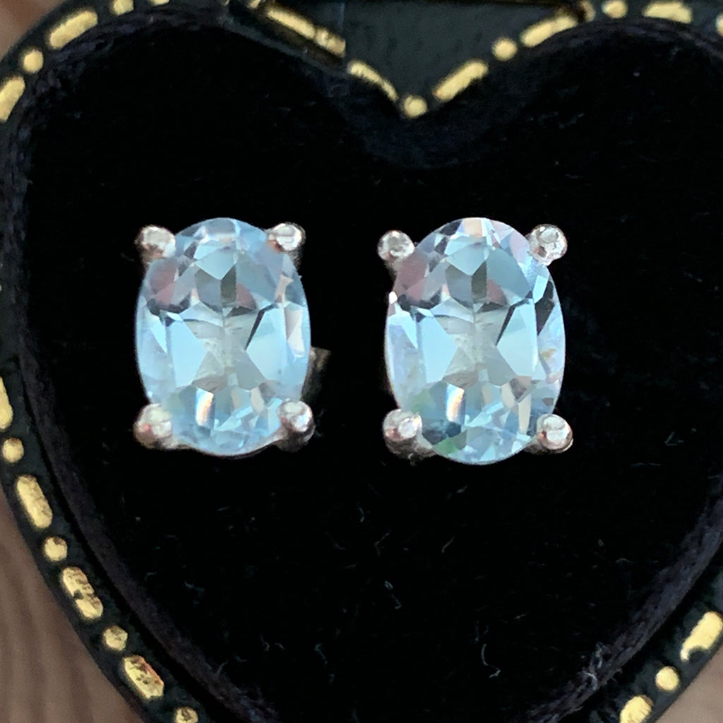 Opal Aquamarine Silver Stud Earrings