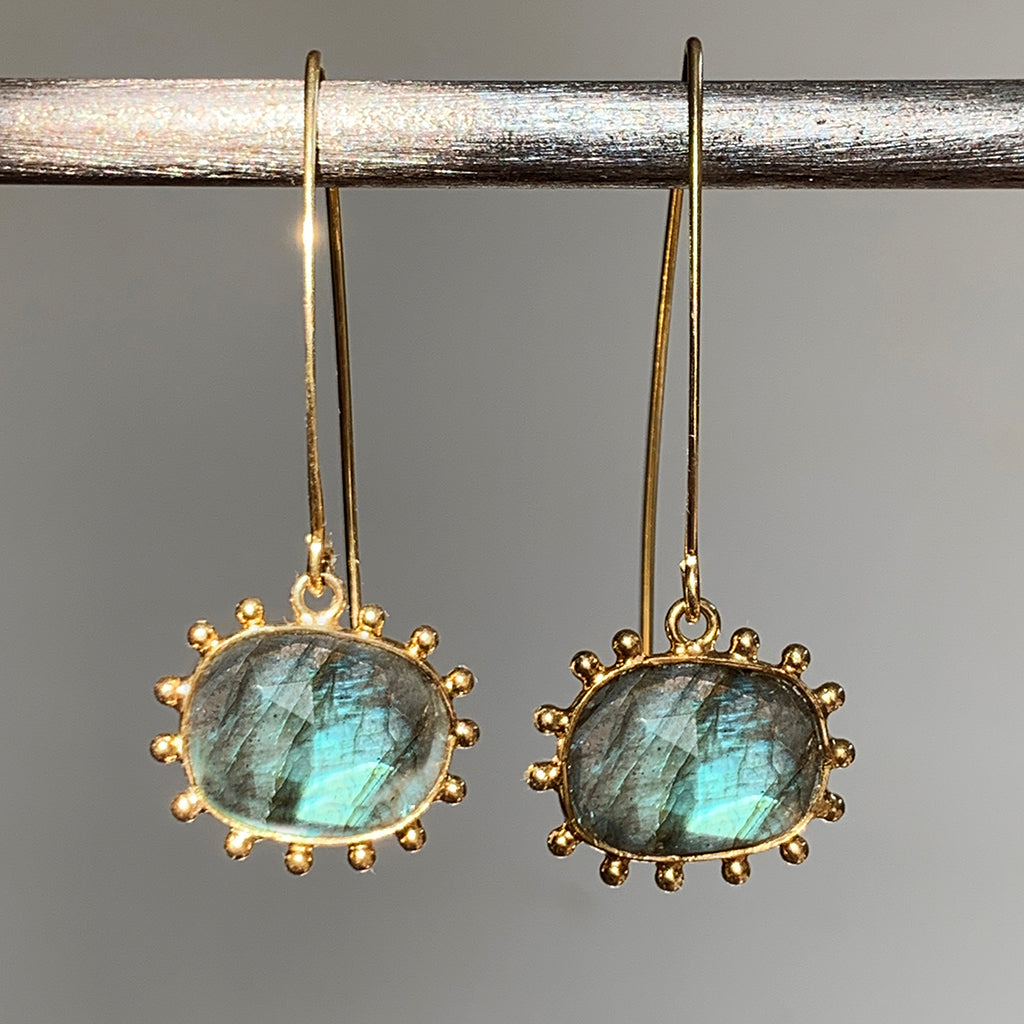 Dotted Labradorite Arc Earrings