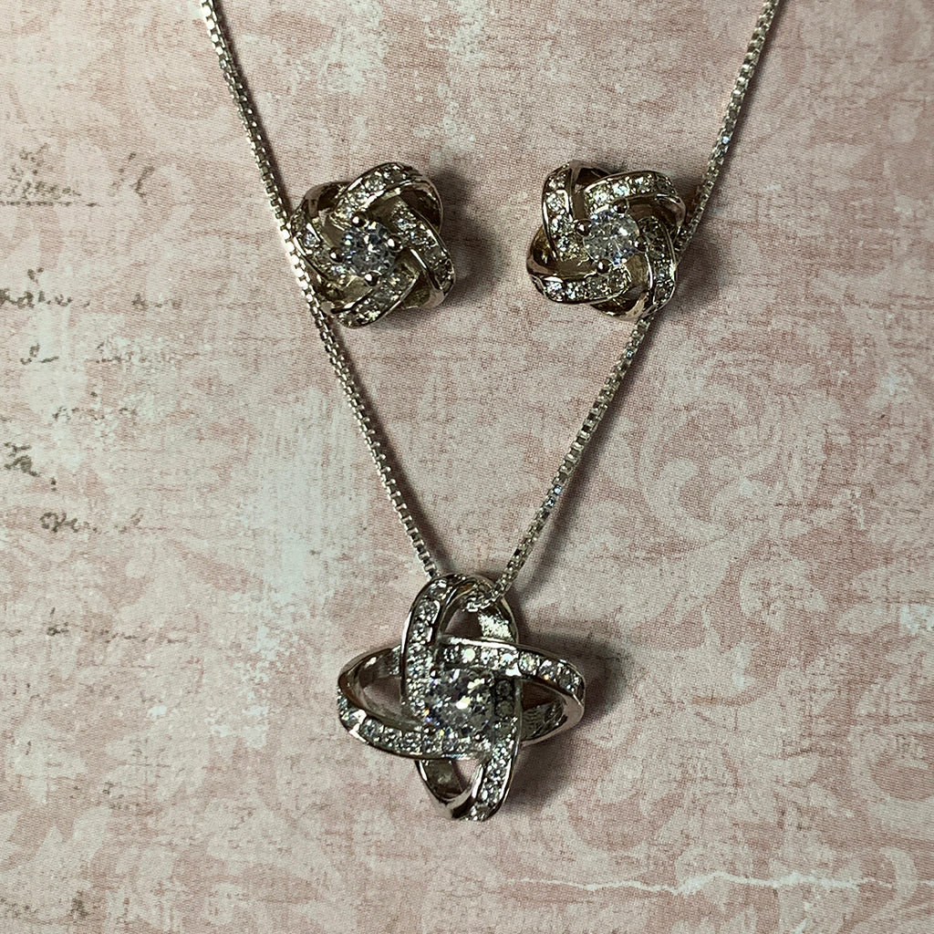 Silver Knot and Diamante Necklace