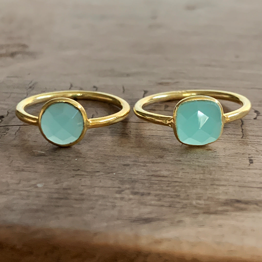 Small Round Aqua Chalcedony Gold Vermeil Ring