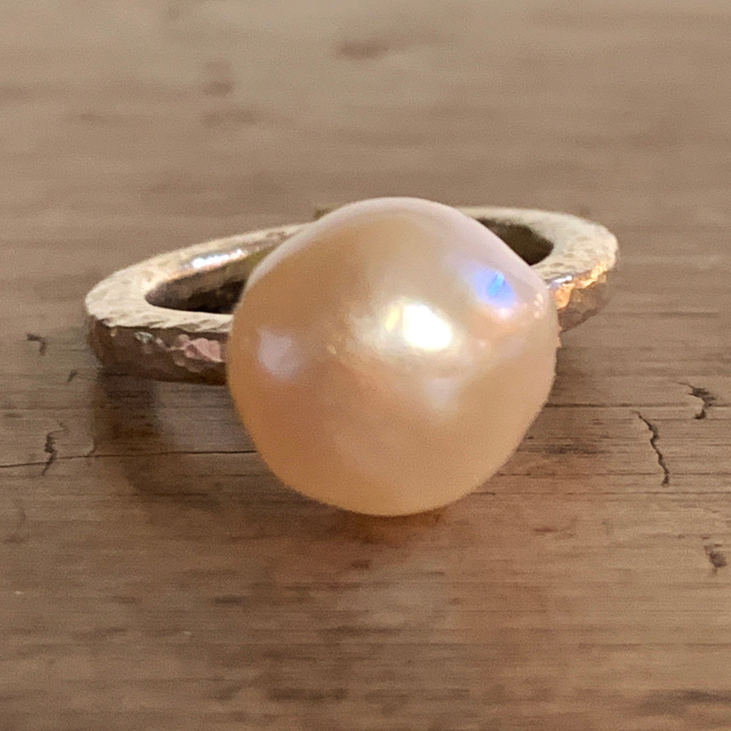 Beautiful Ivory Pearl on Heavy Silver Beaten Ring