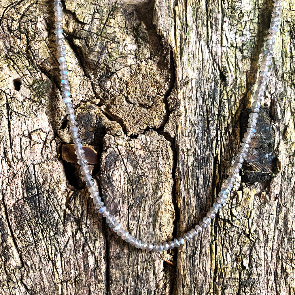 Tiny Labradorite Rondels Strung and Knotted 18 inches Necklace