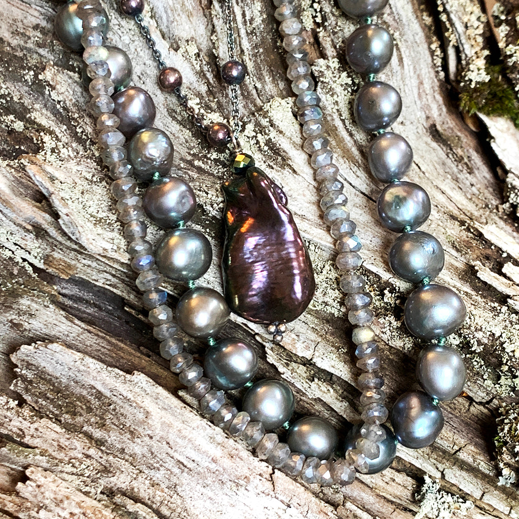 Beautiful Copper Coloured Baroque Pearl on Oxidised Beaded Chain Necklace