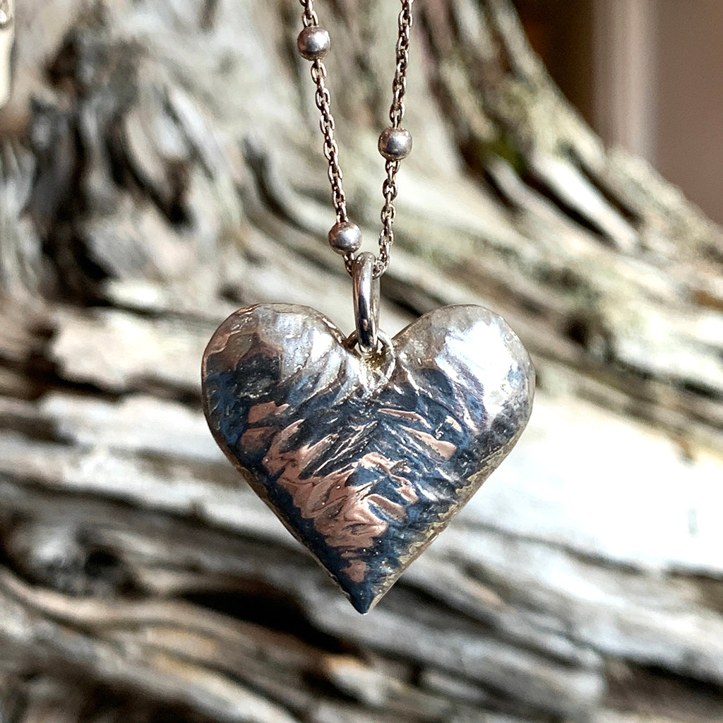 Oxidised Heavy Silver Heart with Beaten Finish Necklace