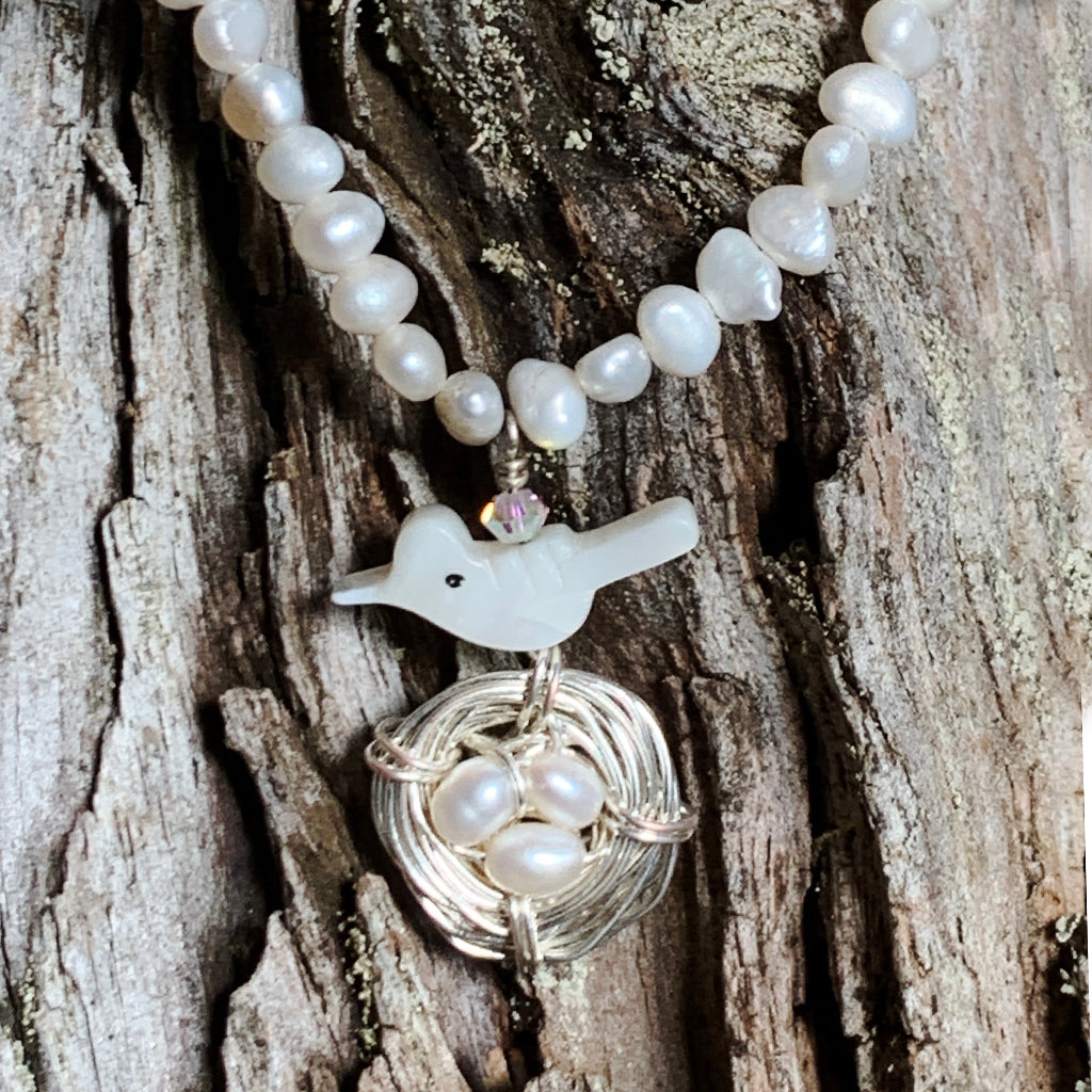 Tiny Baroque Pearl with Mother of Pearl Bird and Nest Pendant Necklace