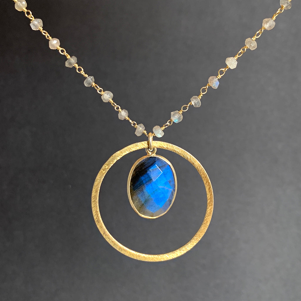 Oval Faceted Labradorite in Gold Halo on Labradorite Stone Chain Necklace