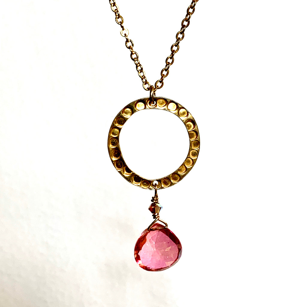 Coated Pink Topaz Briolette with Gold Vermeil Hoop on Gold Chain Necklace