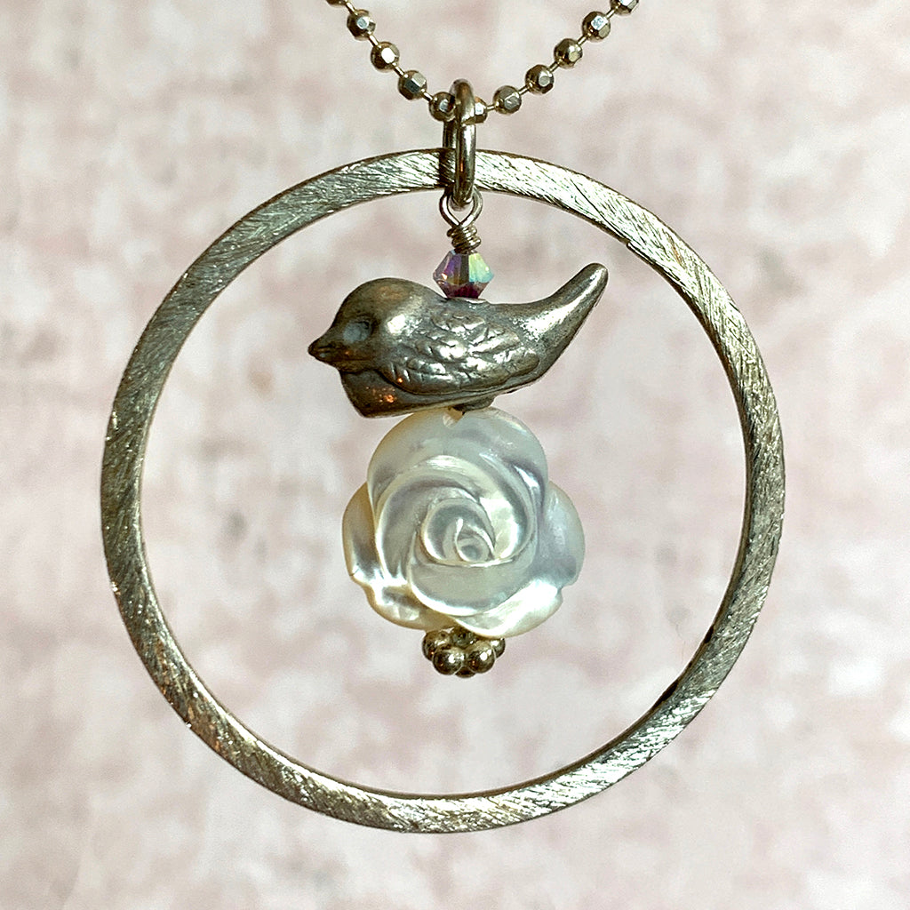 Silver Bird & Mother of Pearl Rose in Large Silver Halo on Silver Chain Necklace