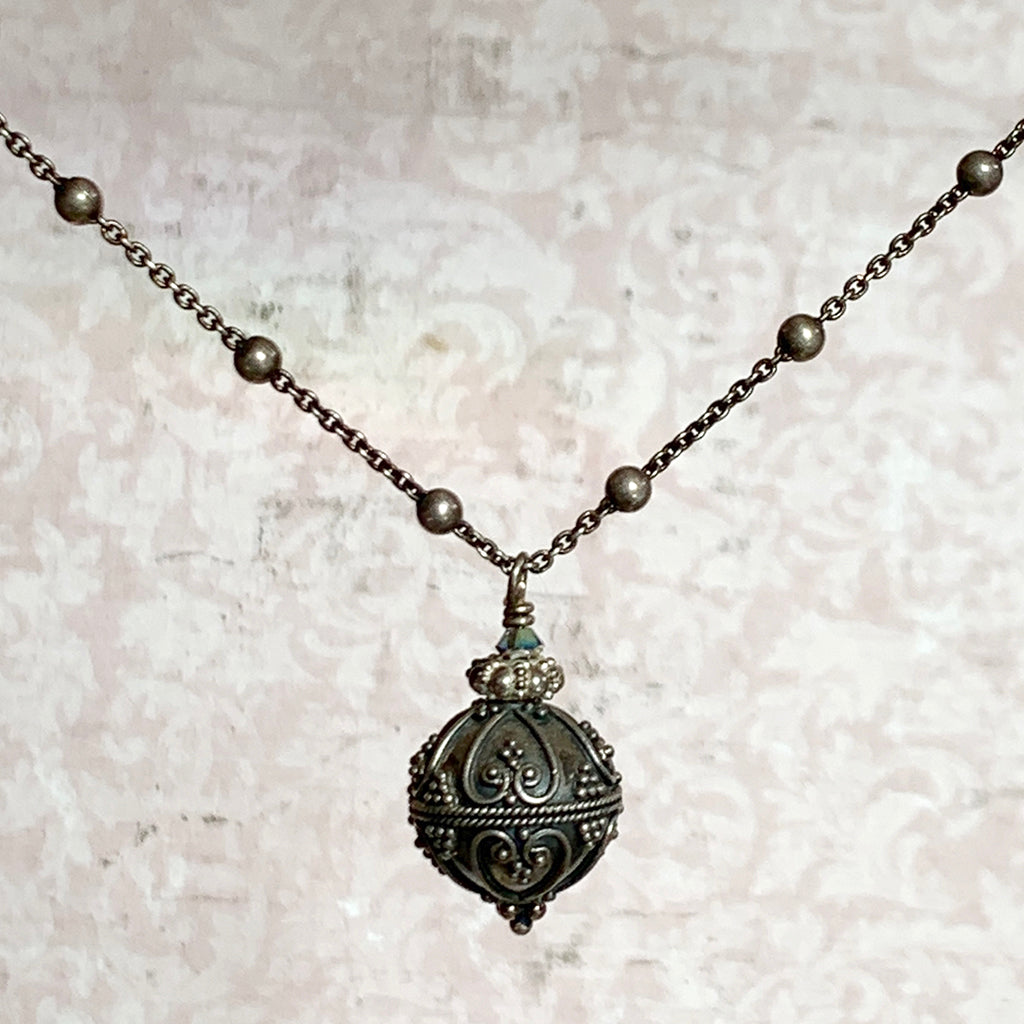 Elaborate Oxidised Silver Ball on Dotted Silver Chain Necklace