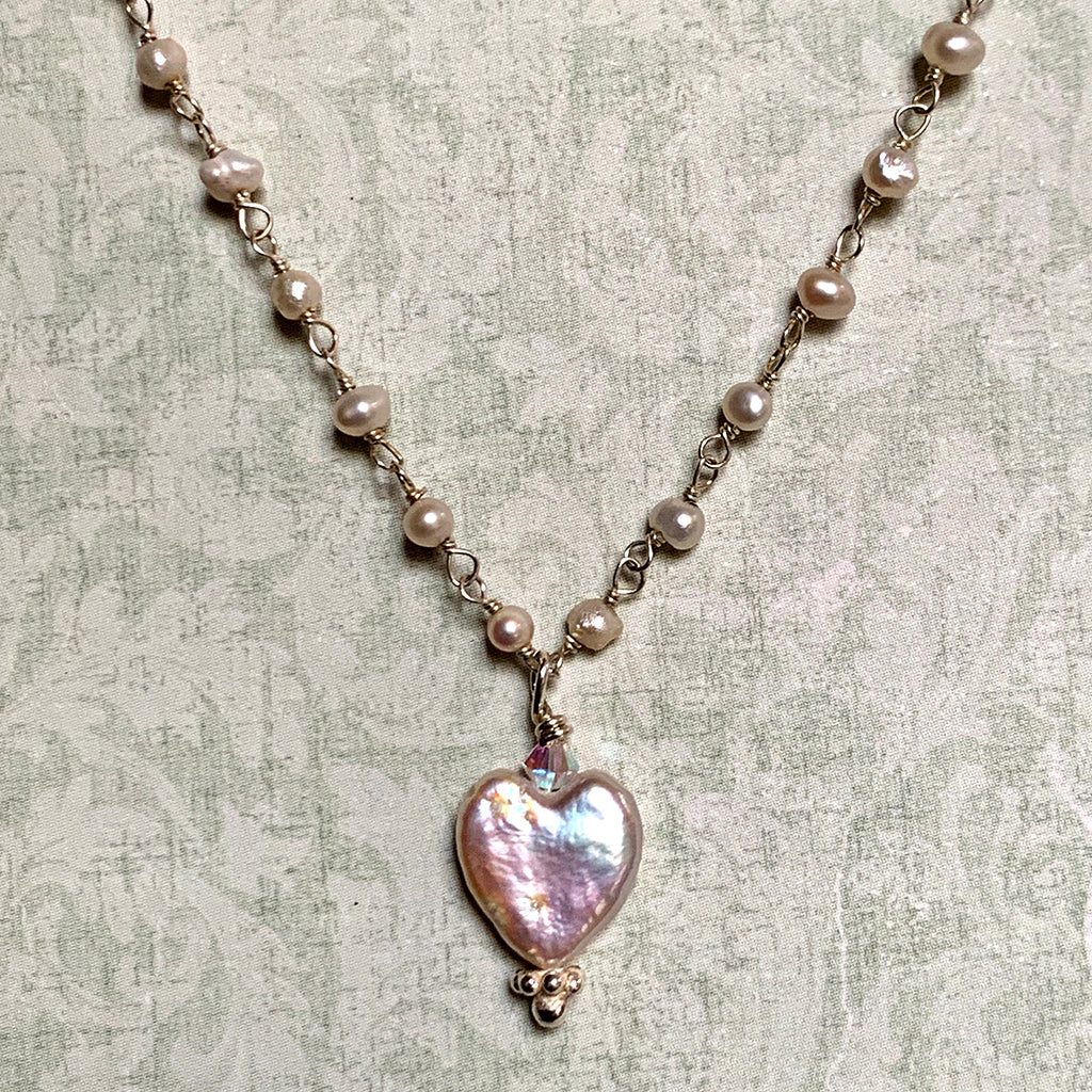Pearl Heart on Round Pearl Chain Necklace