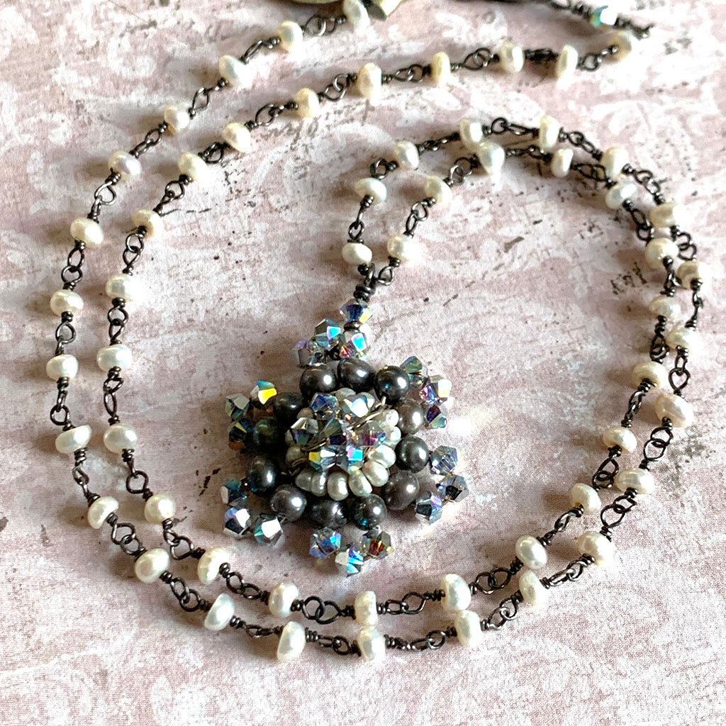 Pearl & Crystal Snowflake Necklace