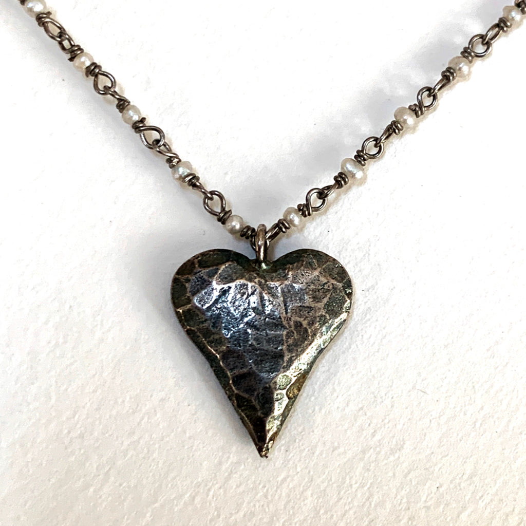 Oxidised Beaten Heart on Oxidised Silver & Pearl Chain Necklace