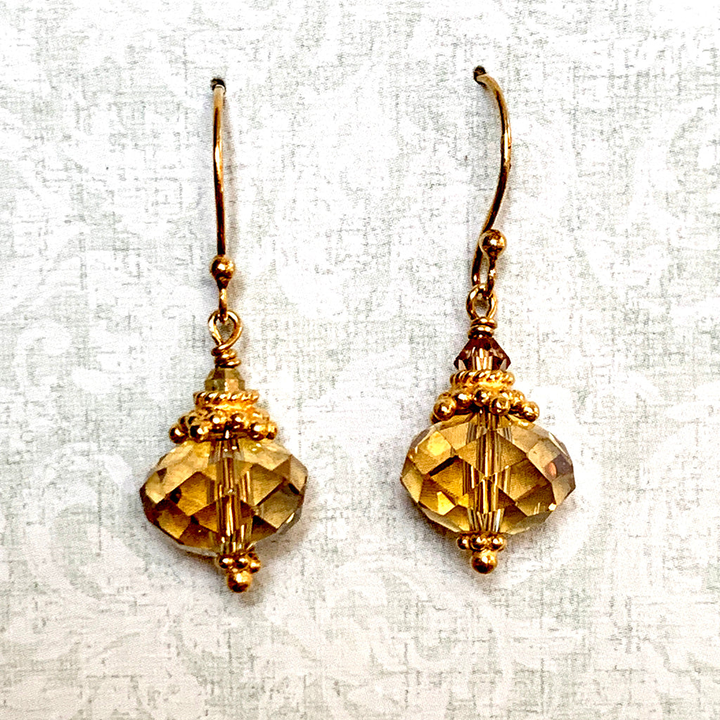 Golden Crystal Collared Earrings