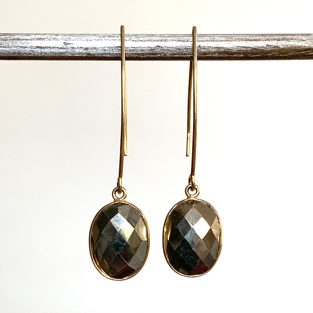 Faceted Pyrites Oval Arc Earrings