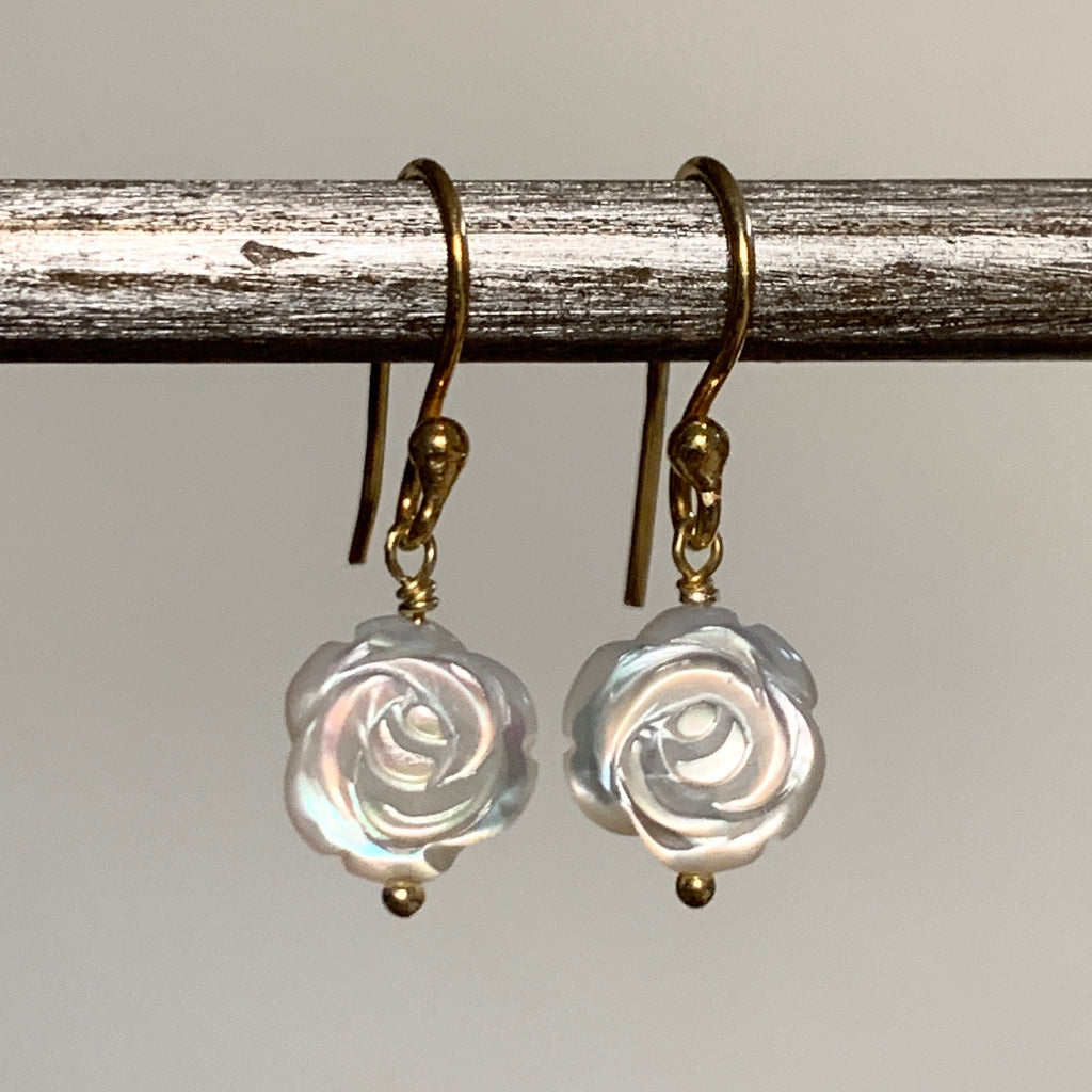 Tiny Mother of Pearl Rose Earrings