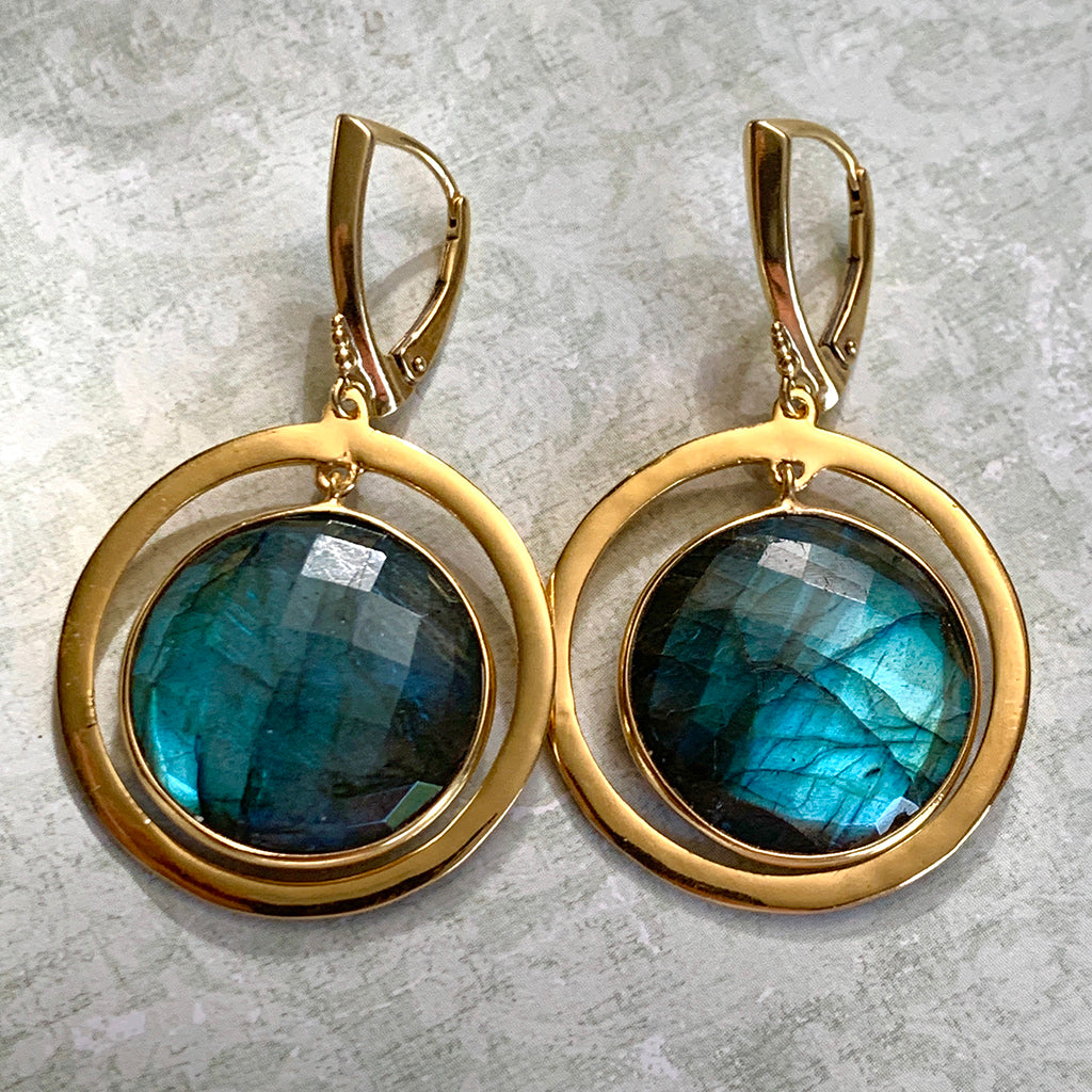Top Quality Labradorite in Gold Halo Earrings