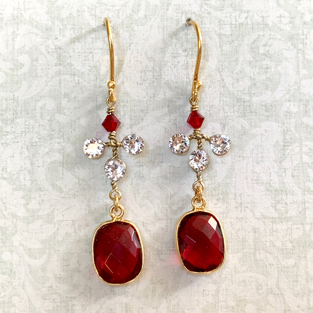 Red Crystal & Diamante Set Earrings